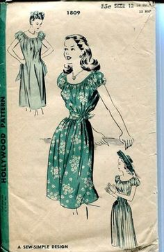 Wilma  1940s WWII Era Vintage Style Peasant by timemachinevintage, $135.00