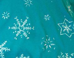 Teal Aqua Blue Frozen White Snowflakes Winter by TheFabricZoo