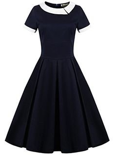 ReoRia Women's 1950s Vintage Scoop Neck Contrast Dress,Unique!!!!!!