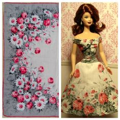 Ooak Barbie doll dress and the vintage hankie it was made from