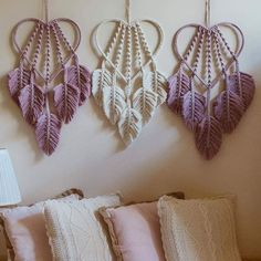 Aren't these dreamcatchers perfect? 📷 by … – Simona Fratrikova Wow! Aren't these dreamcatchers perfect? 📷 by … Wow! Aren't these dreamcatchers perfect? Macrame Wall Hanging Patterns, Macrame Plant Hangers, Macrame Art, Macrame Design, Macrame Projects, Macrame Knots, Macrame Patterns, Yarn Crafts, Sewing Crafts