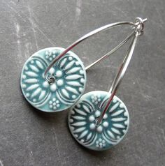 Porcelain earrings. Queen Anne's Lace Hoops