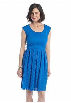 Ronni Nicole Cap-Sleeve Fit and Flare Lace Dress