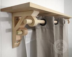 Pair of Shelf Brackets with Dual Curtain Holder is a heavy duty curtain holder made entirely from reclaimed solid wood by Chicago Lumber Recycling, Inc. This bracket combination X 12 X comes as a shelf support with rod holder. Wood Shelf Brackets, Shelf Support Brackets, Diy Wood Shelves, Window Shelves, Shelf Supports, Shelf Brackets With Rod Holder, Wooden Corbels, Wooden Curtain Rods, Diy Curtain Rods