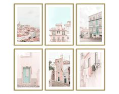 Lisbon Portugal Pastel Set of 6 Prints Travel Wall Art Decor Contemporary Wall Art, Modern Art Prints, Wall Art Prints, Pastel Home Decor, Pastel House, Thing 1, Photo Wall Collage, Frames On Wall, Wall Art Decor
