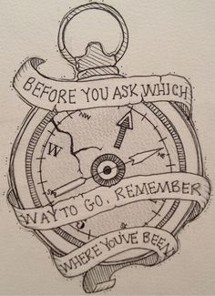 """Compass tattoo design- A nice base design for something better. I may only keep the two bottom pieces of ribbon and use the quote, """"Not all those who wander are lost."""" Unless, of course, I find something better."""