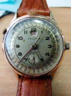 Pallas wristwatch, Ancre 15 Rubis, day/date pointer