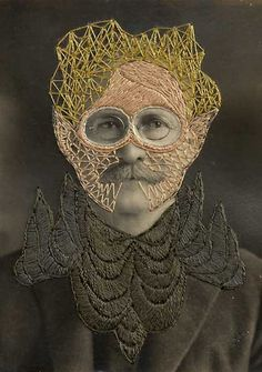 Stacey Page - Leonard - hand embroidery on photographs