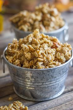 Pumpkin Pie Spice Coconut Oil Granola - you'll love how sticky and clumpy this granola is, and it's so easy to make!