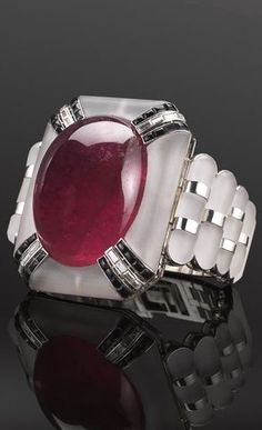 A cool collection of Art Deco finds - a magnificent rock crystal rubellite bracelet