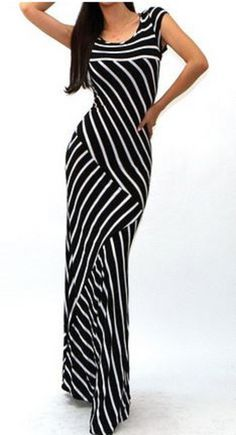 Slimming Black + White Stripe Fashion! Sexy Scoop Collar Short Sleeve Striped Women's Maxi dress