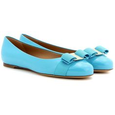 Salvatore Ferragamo Varina Patent Leather Ballerinas ($495) ❤ liked on Polyvore featuring shoes, flats, blue, ballerina flat shoes, ballerina shoes, blue flat shoes, patent leather ballet flats and ballet flat shoes