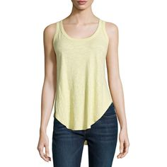 W By Wilt Shrunken Shirttail Racerback Tank ($21) ❤ liked on Polyvore featuring tops, lemongrass, racerback tank, sleeveless tops, sleeveless tank, racer back tops and scoopneck tank