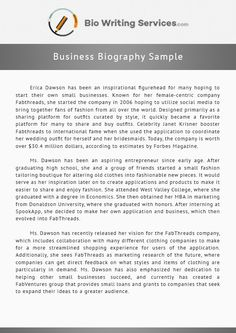 business biography sample that will get you to writing in no time business biography sample that will get you to writing in no time see more samples