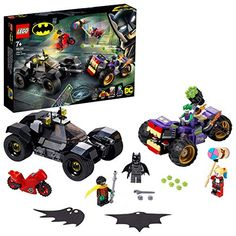 LEGO-La Poursuite du Joker en Moto à 3 Roues DC Comics Super Heroes Jeux de Construction 76159 Multicolore Batman Robin, Le Joker Batman, Der Joker, Lego Batman, Batman Logo, Spiderman, Lego Disney Princess, Dc Universe, Minecraft Skins