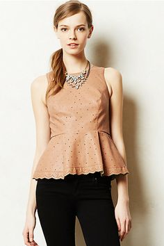 Put a pep in your step with this adorable leather peplum top from Anthropologie!