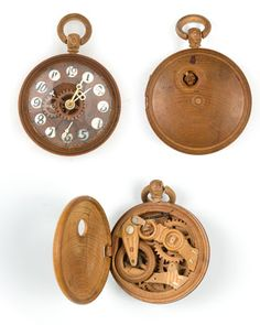 Fully functional wood pocket watches