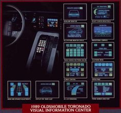 1989 Oldsmobile Toronado VIC (Visual Information Center). Oldsmobile Toronado, Car Brochure, Information Center, Car Advertising, Retro, Cars, Touring, Nostalgia, Autos