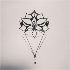 My next tattoo ☆★☆ mady by myself #sternum #flower #geometric #black #newstyle #lotus #triangle