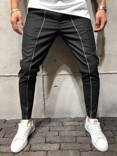 Ankle Pants Front and Side Stripes - Black - Pants - mens streetwear Big Men Fashion, Fashion Pants, Fashion Ideas, Fashion 101, Style Fashion, Fashion Blogs, Cheap Fashion, Modern Fashion, Fashion Clothes