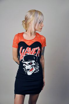 Custom made Slayer dress. Red lace on top, front and back. Short sleeve. Professionally sewn. Altered from a black mens t-shirt. Sexy and
