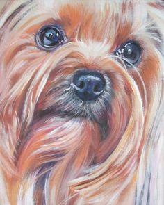 Retrato de perro Yorkshire Terrier yorkie lona impresión de arte Shepard LA pintura perro 8 x 10