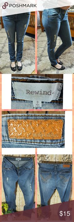 Rewind Distressed Skinny Jeans - Size 9 Super cute and fun Rewind jeans. Size 9. Distressed rips in front. This is how they were manufactured. No stains. All is as pictured. Fits more like a size 7. Wear them straight, cuff them up...you can't go wrong! Rewind Jeans Skinny
