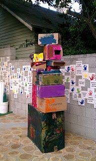 Painting boxes and making outdoor sculptures. This looks fun too