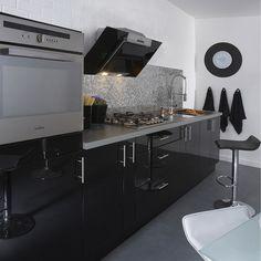 meuble de cuisine delinia composition type dark noir noir n0 - Leroy Merlin Cuisine Moderne Gris Fance