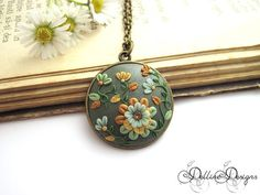 Magic Autumn_Round Handmade Unique Polymer Clay by DellineDesigns