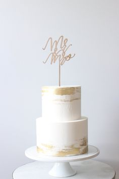 Mr & Mrs, Laser Cut Wooden Cake Topper, Wedding Cake Topper, Engagement Party, Mr and Mrs Party Deco Small Wedding Cakes, Elegant Wedding Cakes, Beautiful Wedding Cakes, Wedding Cake Designs, Wedding Cake Toppers, Beautiful Cakes, Rustic Wedding, Gold Wedding Cakes, Wedding Cake Simple