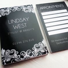 Appointment Card Design & Print - Bradys Hair Salon - Chesterfield, Derbyshire ::  Bradys Hair Salon is a friendly and relaxed salon catering for all ages situated at the bottom of Hasland Road. Description Our team is made up of 5 experienced and qualified stylists offering a variety of services for all including cutting, colouring, barbering, perming and hair ups for those special occasions.  www.bimbodesign.co.uk