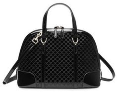 Gucci Gucci Nice Microguccissima Patent Leather Top Handle Bag, Black on shopstyle.com