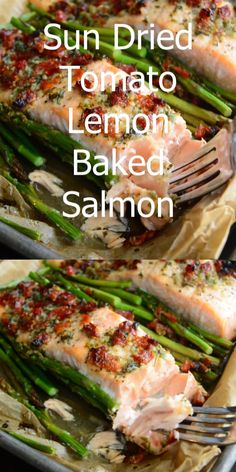 Easy ONE PAN Salmon Recipe Sun Dried Tomato Lemon Baked Salmon and Asparagus. Juicy, flaky salmon is baked with asparagus in a sun-dried tomato lemon sauce. The whole dish takes less than 30 minutes to prepare. Salmon Dishes, Seafood Dishes, Seafood Recipes, Vegetarian Recipes, Healthy Dinner Recipes, Cooking Recipes, Salmon Meals, Sushi Recipes, Cooking Tips
