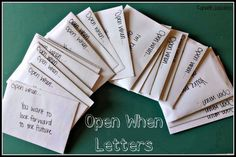 """This is a really great example of """"open when"""" letters and what to put in them. Saving this for later :)"""