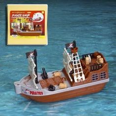 """Pirate Ship - Bath and Pool Toy - Battery Operated + Waterpower Jet + Directional Control by Playmaker Toys. $10.69. 8"""" battery operated Pirate Ship with waterpower jet and directional control rudder. Perfect for fun in the bath or pool! Recommended for age 8 and above."""
