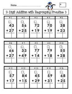 """Created for elementary age students, this is 4 pages of addition and subtraction problems set up in a grid with boxes for """"regrouping""""/""""carrying""""/""""borrowing. Math Addition, Addition And Subtraction, Subtraction With Borrowing, Math Worksheets, Math Resources, Math Homework Help, Second Grade Math, Grade 3, Homeschool Math"""