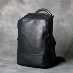 Vintage Black Soft Genuine Leather Backpack 5415eb1846126