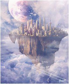 Made By Frost Floating City Fantasy City, Fantasy Castle, Fantasy Places, Fantasy World, Dark Fantasy, Gothic Castle, City Sky, Futuristic City, Fantasy Landscape