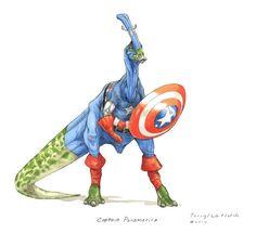 """Dino Avengers"" - Captain Paramerica"