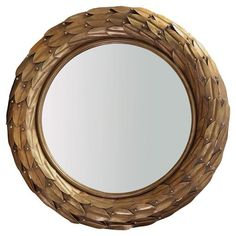Hermes Global Brown Bronze Laurel Berry Leaf Round Wall Mirror | Kathy Kuo Home