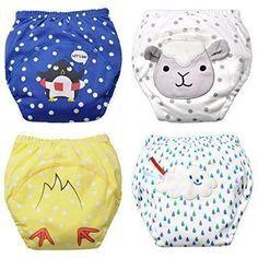 5e6c8c833 Baby Boy's Training Pants Toddler Potty Cotton Pants Cloth Diaper 4 Packs  Cute Nappy Underwear for Kids Washable 3 Layers Potty pants.