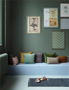 Gorgeous embroidered, linen, block printed, velvet and cotton cushions and pillow covers from Bungalow. Lounge Cushions, Blue Cushions, Green Pillows, Colorful Pillows, Velvet Cushions, Light Green Walls, T Home, Embroidered Cushions, Living Room Green