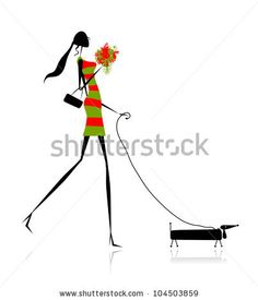 Fashion girl silhouette walking with dog