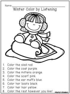 Most Popular Winter Crafts - Outdoor Click Preschool Lesson Plans, Preschool Activities, Listening Activities For Kids, Listening Skills, Therapy Activities, Winter Colors, Winter Theme, Following Directions Activities, Winter Crafts For Kids