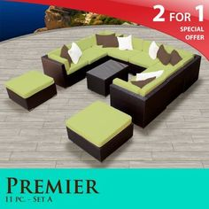 """Premier Outdoor Wicker 11 Piece Patio Set Peridot Covers -11A by TK Classics. $2254.00. 4"""" Welted cushions for a luxurious look and feel. Affordable and comfortable Modular Furniture allows for endless arrangement possibilities. """"No Sag"""" solid wicker bottoms with extra flexible strapping providing long-lasting suspension. Versatile design for ANY patio size. Fully Assembled - ready to relax and enjoy. 2 for 1 Special: Purchase 1 of our Classic Patio Sets and receive a 2nd se..."""