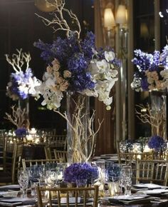 Blue Reception Wedding Flowers