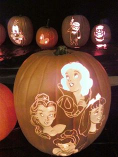 Pumpkin carvings- beauty and the beast!