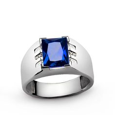 Men's Sapphire Ring In Sterling Silver with Genuine Diamonds, Diamond Ring Mens…