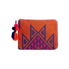 ASOS iPad Case In Geo-Tribal With Chunky Zip And Pom Pom ($20) ❤ liked on Polyvore featuring accessories, tech accessories, bags, clutches, multi, ipad sleeve case, asos and ipad cover case